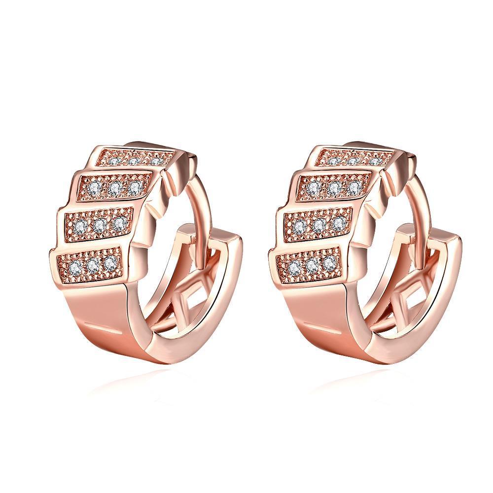 Vienna Jewelry Rose Gold Plated Horizontal Plates Mini Hoop Earrings