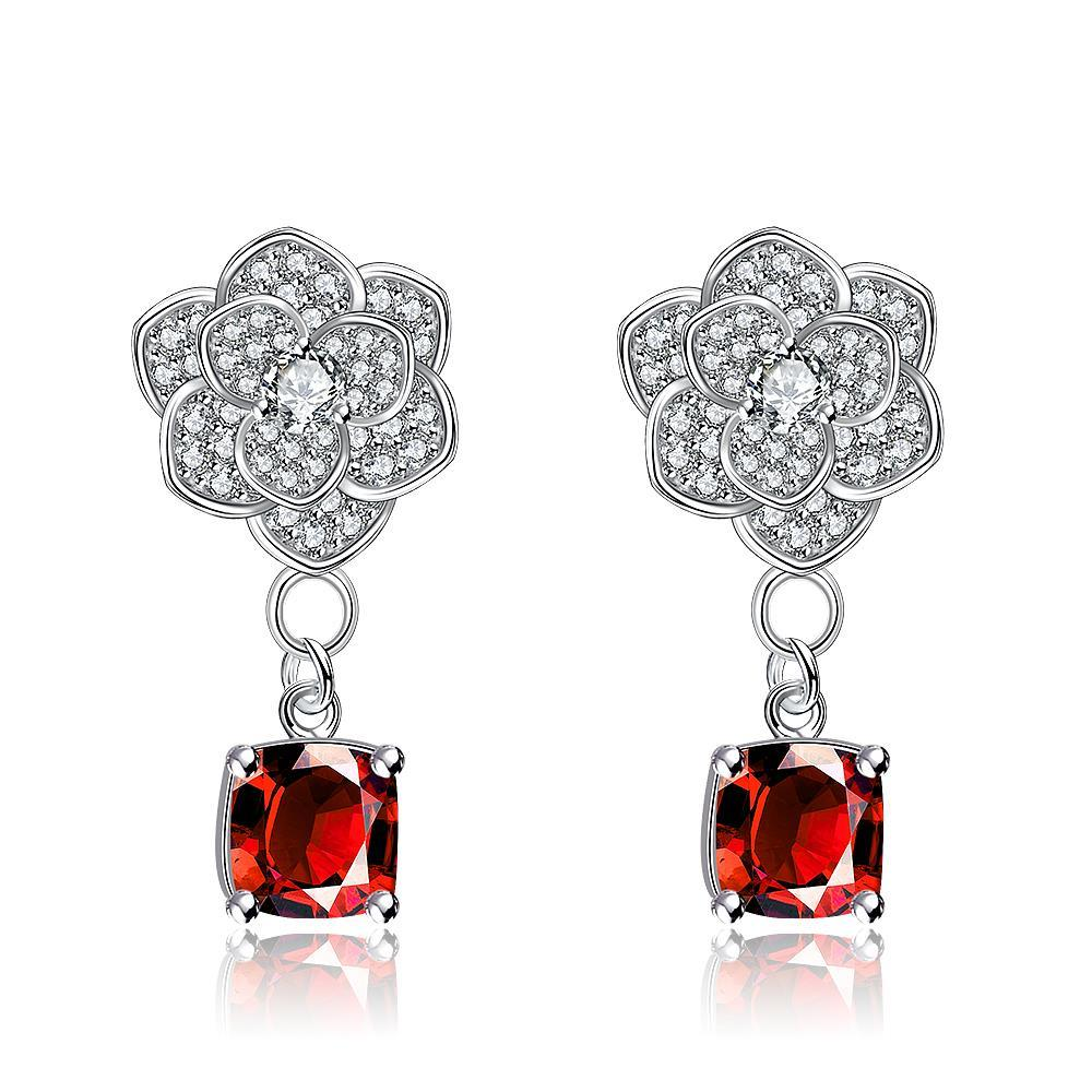 White Gold Plated Classic Ruby Gem Drop Earrings