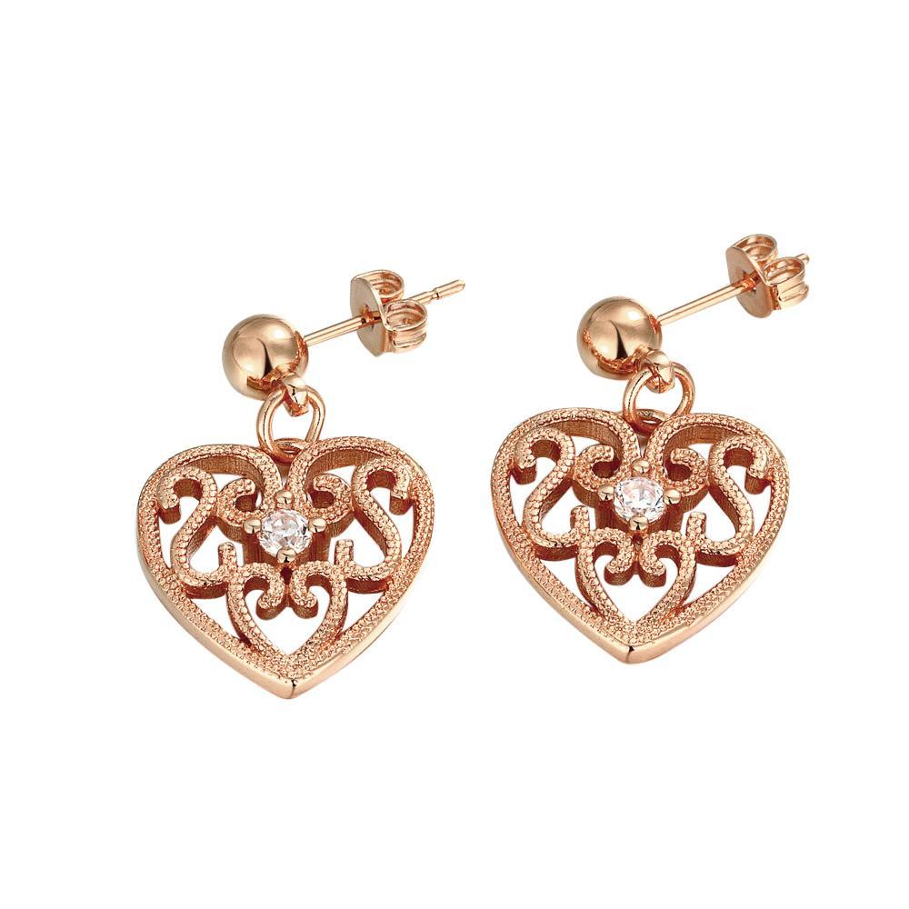 Vienna Jewelry Rose Gold Plated Laser Cut Classic Heart Studs