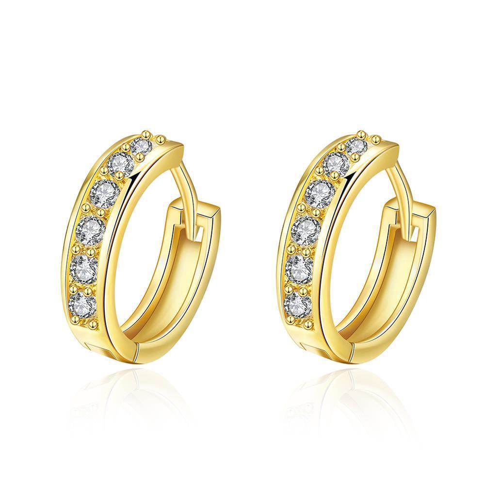 Vienna Jewelry Gold Plated Classic Diamond Jewels Mini Hoop Earrings