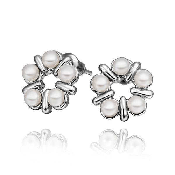Vienna Jewelry 18K White Gold Five Pearls Stud Earrings Made with Swarovksi Elements