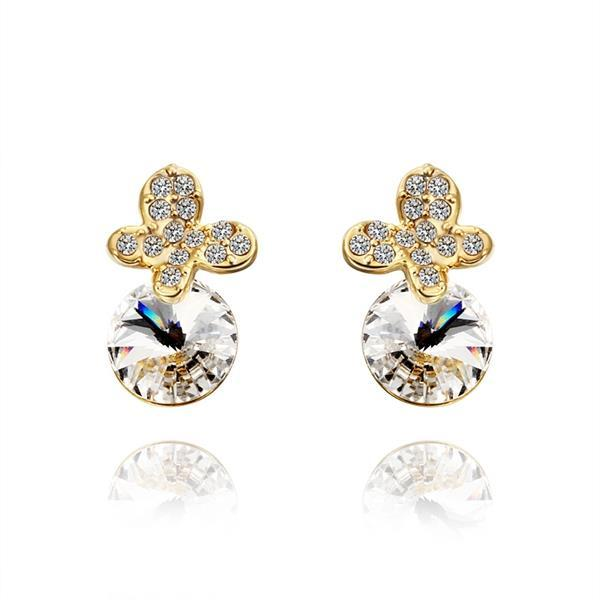 Vienna Jewelry 18K Gold Clover Drop Down Earrings with Jewel Gem Made with Swarovksi Elements