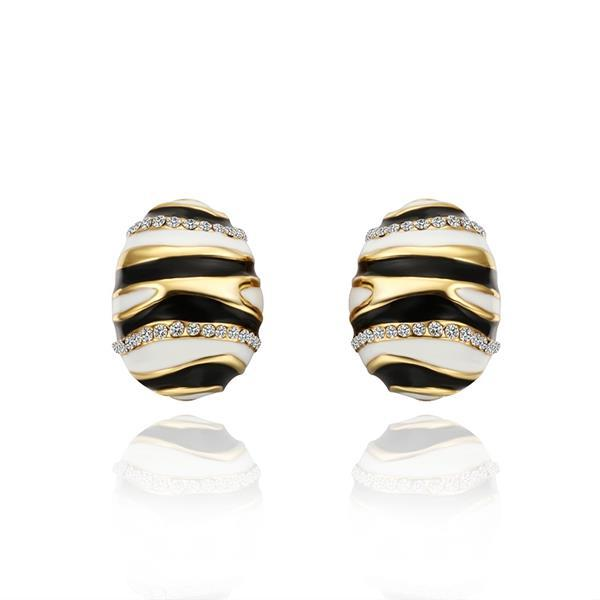 Vienna Jewelry 18K Gold Spiral Oval Stud Earrings Made with Swarovksi Elements