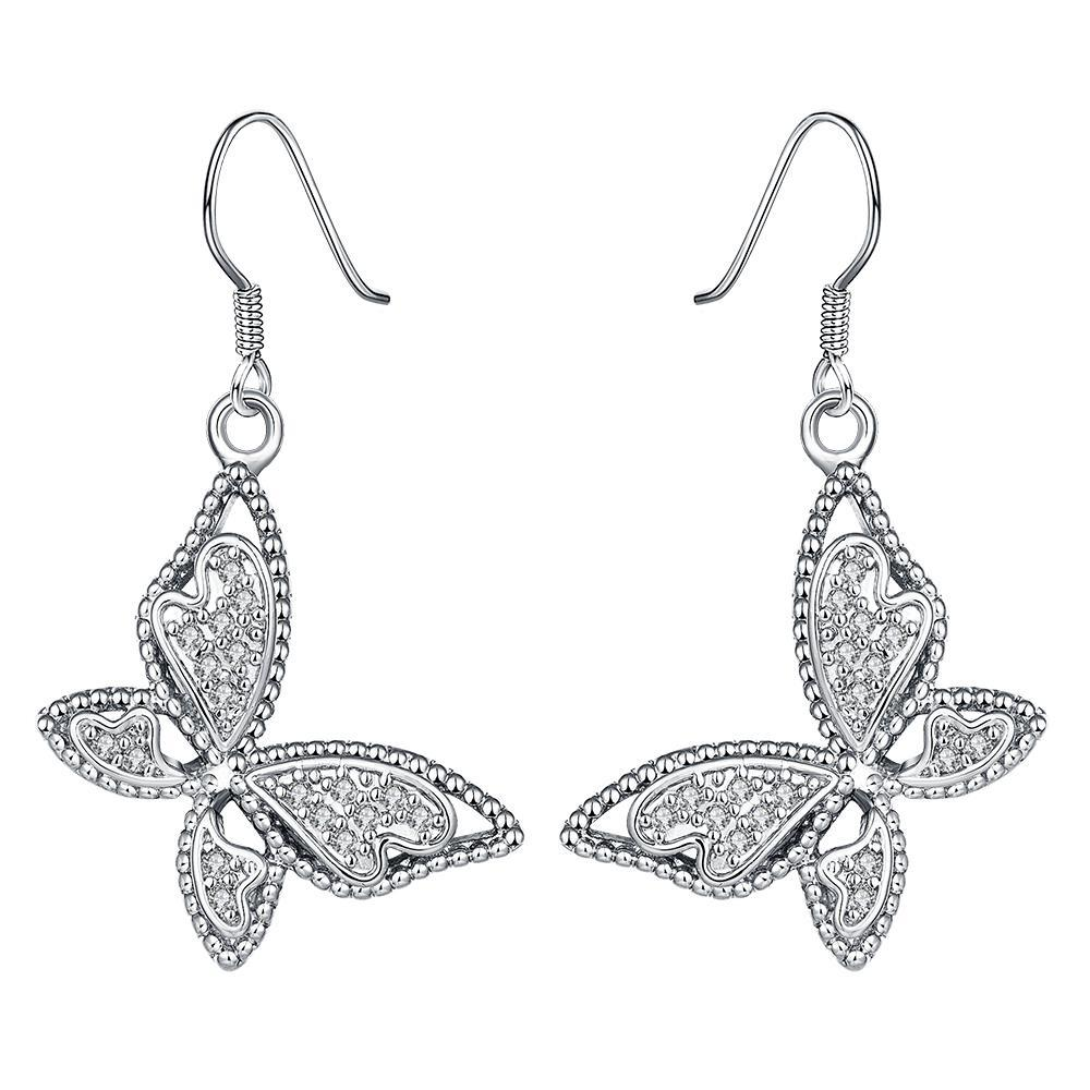Vienna Jewelry White Gold Plated Butterflies Drop Down Earrings