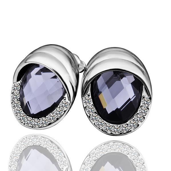 Vienna Jewelry 18K White Gold Stud Earrings with Onyx Jewel Made with Swarovksi Elements