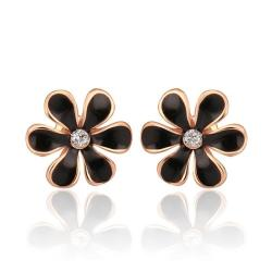 Vienna Jewelry 18K Rose Gold Onyx Floral Petal Stud Earrings Made with Swarovksi Elements - Thumbnail 0