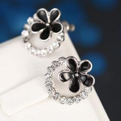 Vienna Jewelry 18K White Gold Floral Hoop Earrings Made with Swarovksi Elements - Thumbnail 0
