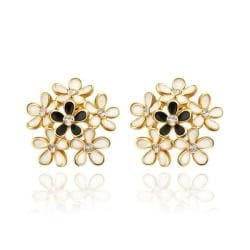 Vienna Jewelry 18K Rose Gold Studs With Multiple Floral Petals Made with Swarovksi Elements - Thumbnail 0