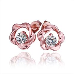 Vienna Jewelry 18K Rose Gold Crusted Style Stud Earrings Made with Swarovksi Elements - Thumbnail 0