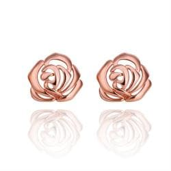 Vienna Jewelry 18K Rose Gold Hollow Floral Stud Earrings Made with Swarovksi Elements - Thumbnail 0