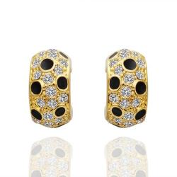 Vienna Jewelry 18K Gold Covered with Onyx Jewels Earrings Made with Swarovksi Elements - Thumbnail 0