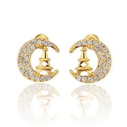 Vienna Jewelry 18K Gold Night In Paris Studs Made with Swarovksi Elements - Thumbnail 0