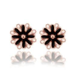 Vienna Jewelry 18K Rose Gold Classic Floral Petal Stud Earrings Made with Swarovksi Elements - Thumbnail 0