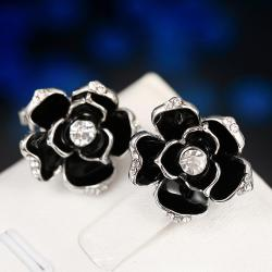Vienna Jewelry 18K White Gold Floral Petal Stud Earrings Made with Swarovksi Elements - Thumbnail 0