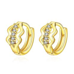 Vienna Jewelry Gold Plated Double Diamond Shaped Mini Hoop Earrings - Thumbnail 0