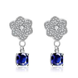 White Gold Plated Classic Saphire Gem Drop Earrings - Thumbnail 0