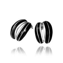 Vienna Jewelry 18K White Gold Ivory Inline Stud Earrings Made with Swarovksi Elements - Thumbnail 0