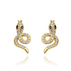 Vienna Jewelry 18K Gold Spiral Cobra Shaped Stud Earrings Made with Swarovksi Elements - Thumbnail 0