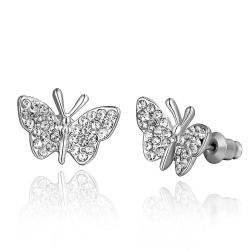Vienna Jewelry 18K White Gold Flying Butterfly Stud Earrings Made with Swarovksi Elements - Thumbnail 0