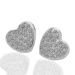 Vienna Jewelry 18K White Gold Heart Shaped Stud Earrings Made with Swarovksi Elements