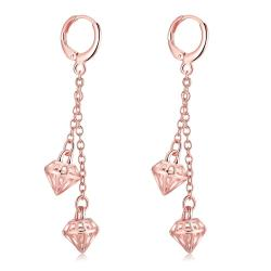 Vienna Jewelry Rose Gold Plated Triangular Dangling Drop Earrings - Thumbnail 0
