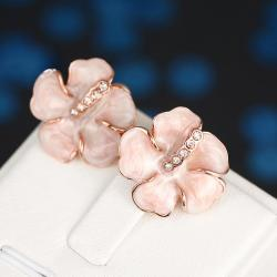 Vienna Jewelry 18K Rose Gold Ivory Rose Petal Stud Earrings Made with Swarovksi Elements - Thumbnail 0