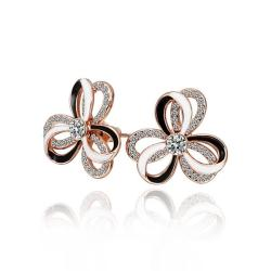 Vienna Jewelry 18K Rose Gold Triple Layered Rose Petals Stud Earrings Made with Swarovksi Elements - Thumbnail 0