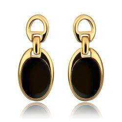 Vienna Jewelry 18K Gold Studs with Onyx Covering Made with Swarovksi Elements