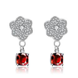 White Gold Plated Classic Ruby Gem Drop Earrings - Thumbnail 0