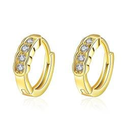 Vienna Jewelry Gold Plated Circular Jewels Mini Hoop Earrings - Thumbnail 0