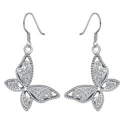 Vienna Jewelry White Gold Plated Butterflies Drop Down Earrings - Thumbnail 0