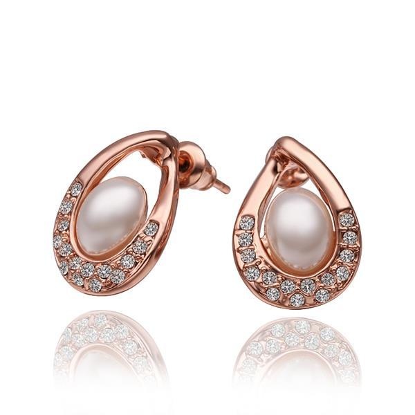 Vienna Jewelry 18K Rose Gold Acorn Shaped Stud Earrings with Jewels Covering Made with Swarovksi Elements