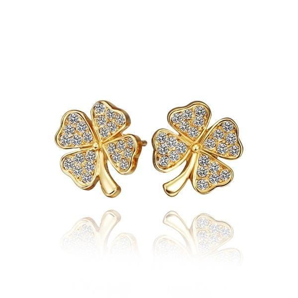 Vienna Jewelry 18K Gold Mini Clover Stud Earrings Made with Swarovksi Elements
