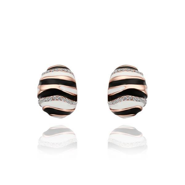 Vienna Jewelry 18K Rose Gold Spiral Oval Stud Earrings Made with Swarovksi Elements