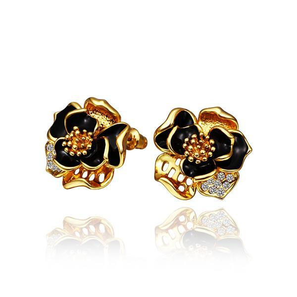 Vienna Jewelry 18K Gold Onyx Covered Rose Petals Stud Earrings Made with Swarovksi Elements