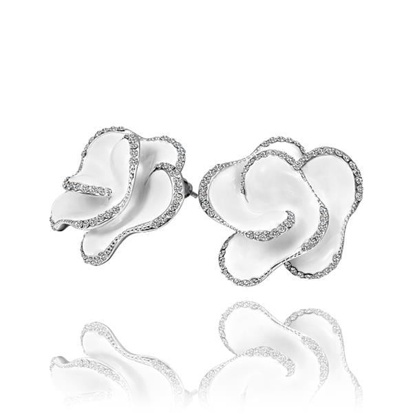 Vienna Jewelry 18K White Gold Ivory Colored Rose Petal Stud Earrings Made with Swarovksi Elements