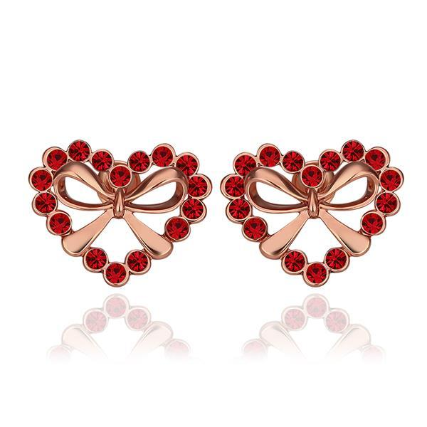 Vienna Jewelry 18K Rose Gold Hollow Hearts Covered with Ruby Studs Made with Swarovksi Elements