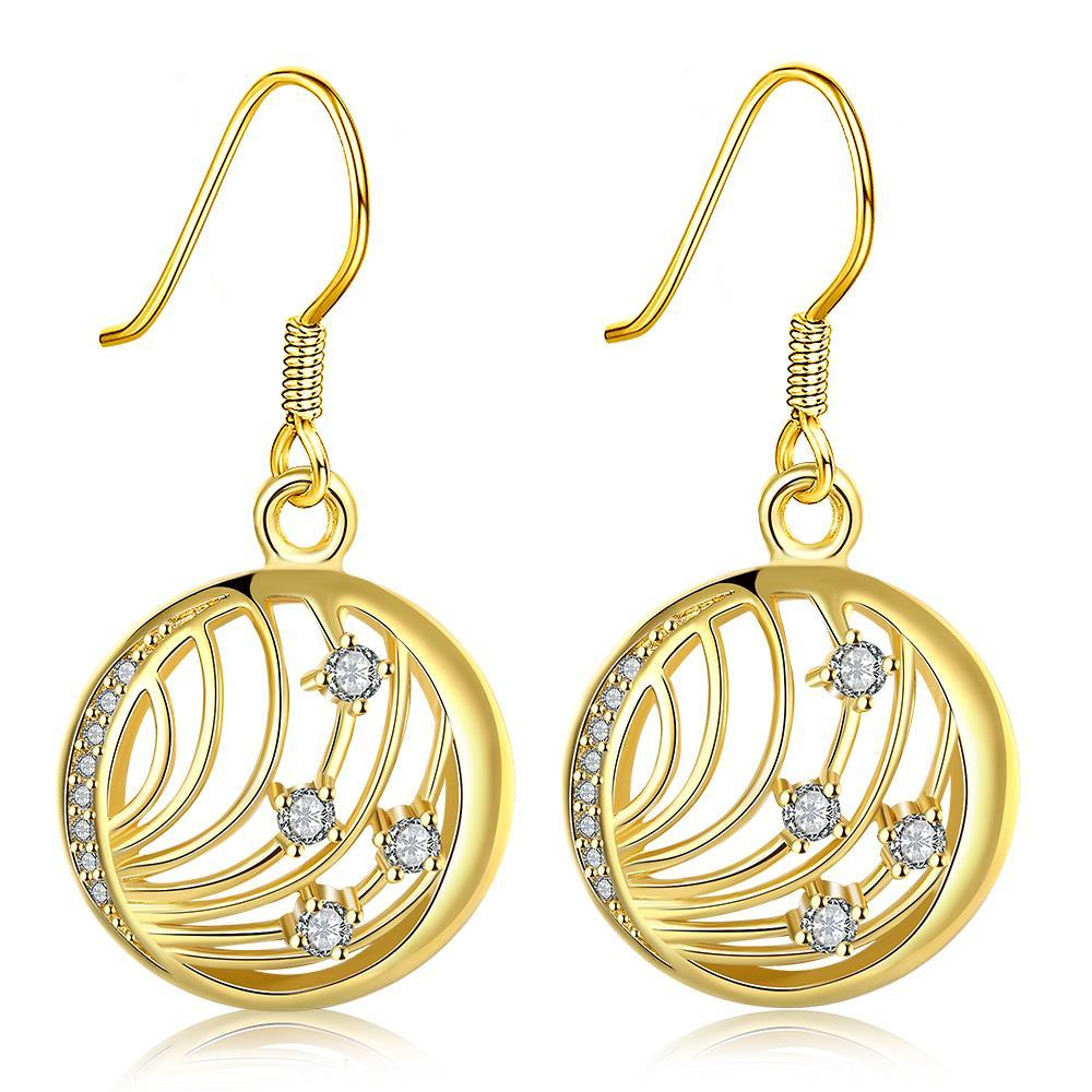 Vienna Jewelry Gold Plated Laser Cut Wire Jewels Drop Down Earrings