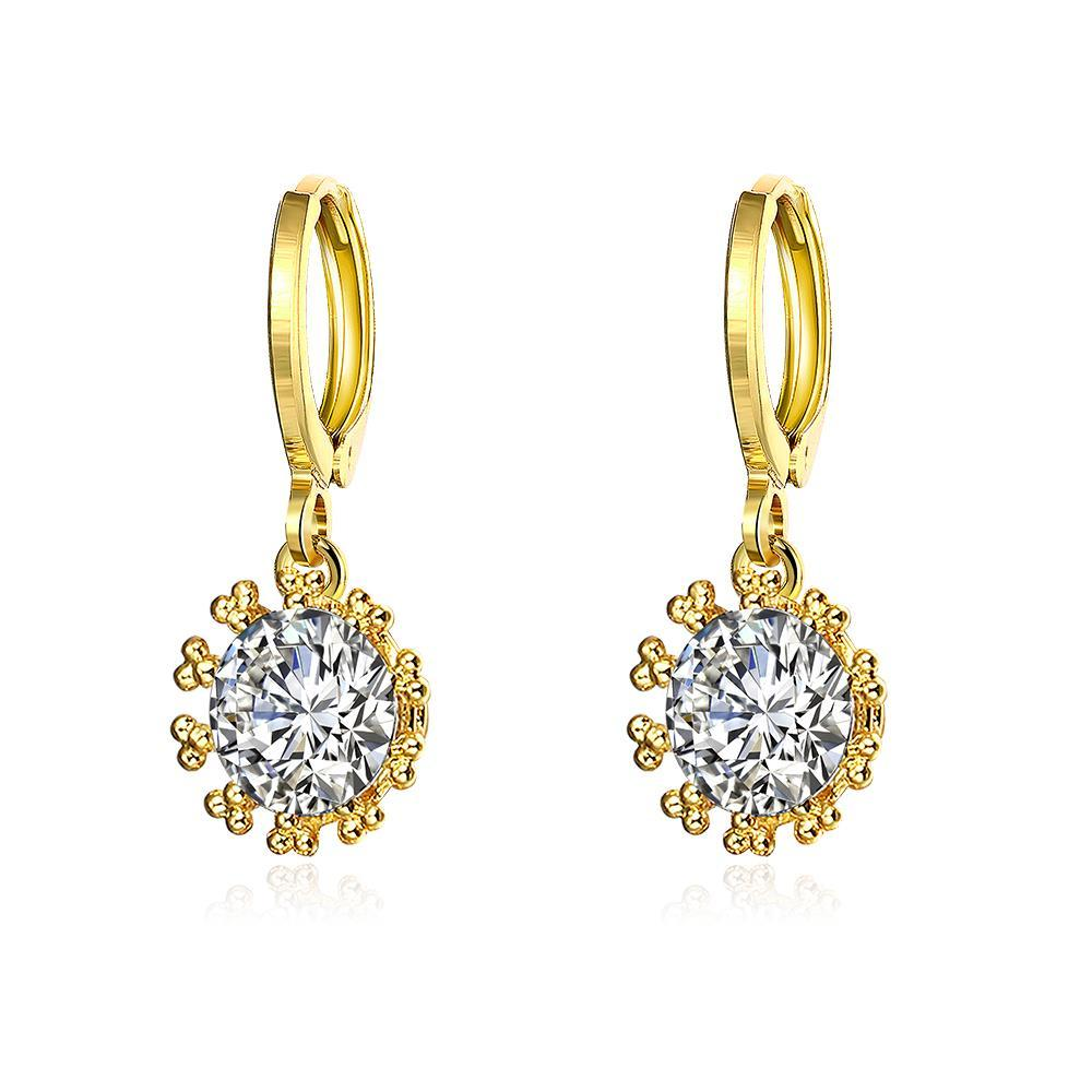 Gold Plated Crystal Jewel Clip-On Drop Earrings