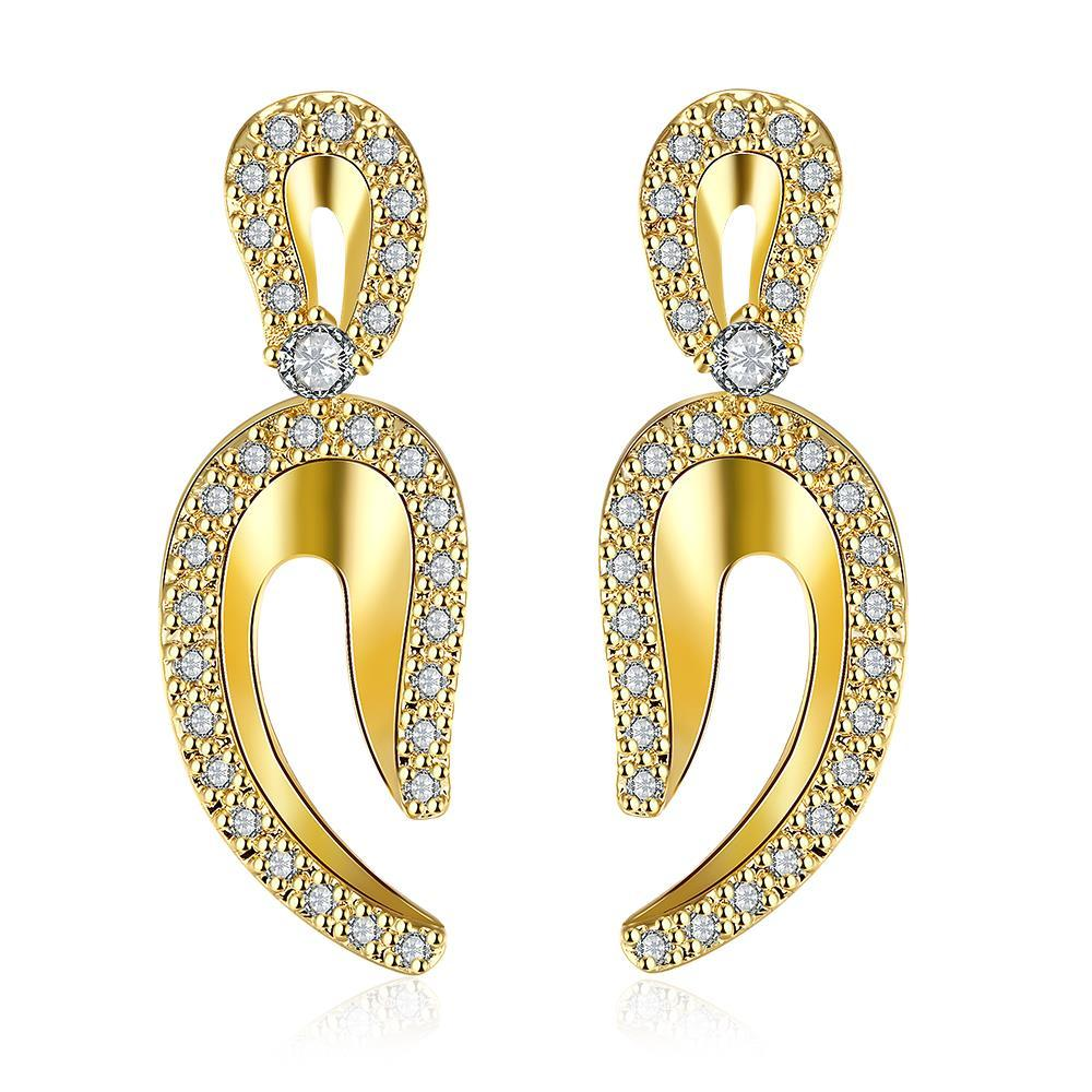 Gold Plated Lucky Horseshoe Drop Earrings