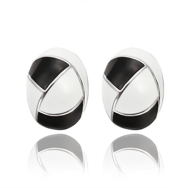 Vienna Jewelry 18K White Gold Inline Acorn Shaped Onyx & Ivory Stud Earrings Made with Swarovksi Elements