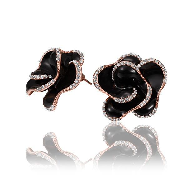 Vienna Jewelry 18K Rose Gold Onyx Colored Rose Petal Stud Earrings Made with Swarovksi Elements