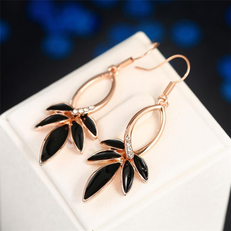 Vienna Jewelry 18K Rose Gold Onyx Petals Drop Earrings Made with Swarovksi Elements