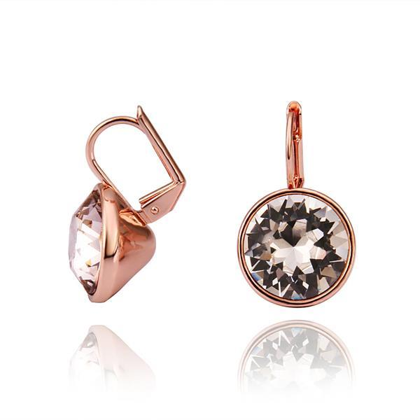 Vienna Jewelry 18K Rose Gold Stud Earrings with Crystal Center Made with Swarovksi Elements