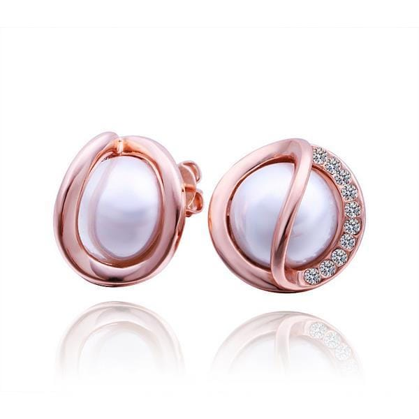 Vienna Jewelry 18K Rose Gold Pearl & Jewels Covered Stud Earrings Made with Swarovksi Elements