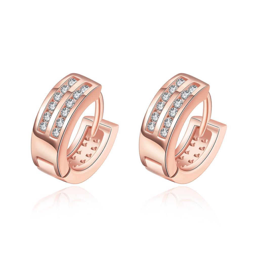 Vienna Jewelry Rose Gold Plated Crystal Lined Mini Hoop Earrings