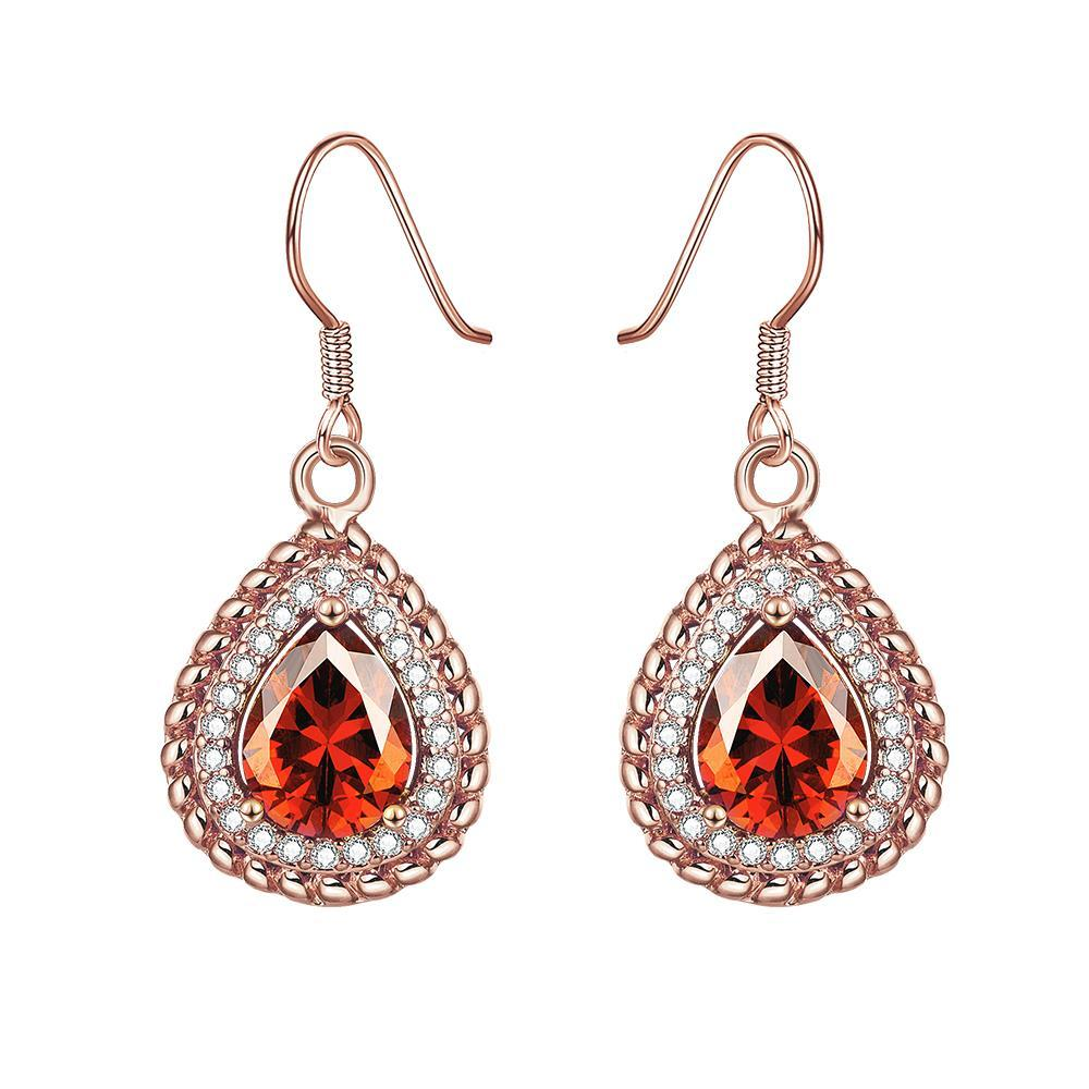 Rose Gold Plated Ruby Gem Encrusted Drop Down Earrings