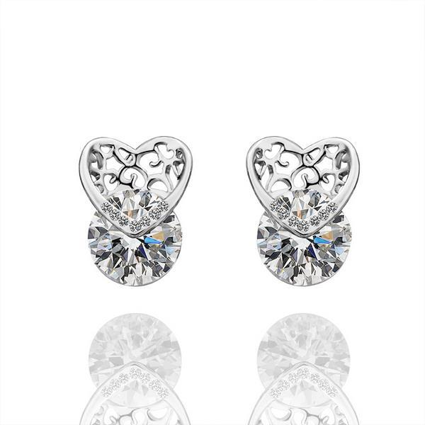 Vienna Jewelry 18K White Gold Laser Cut Heart Earrings Made with Swarovksi Elements