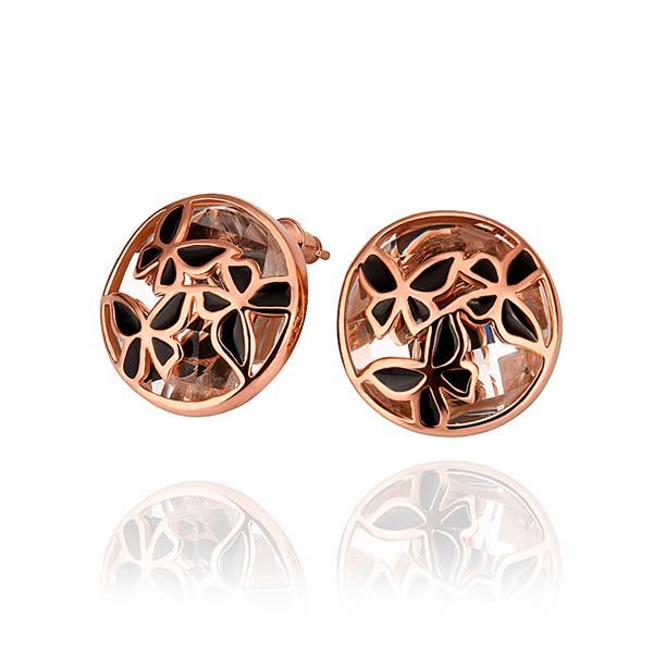 Vienna Jewelry 18K Rose Gold Laser Cut Stud Earrings Made with Swarovksi Elements