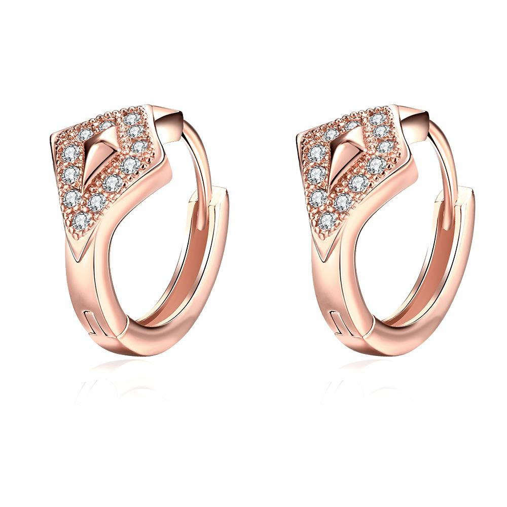 Vienna Jewelry Rose Gold Plated Diamond Shaped Encrusted Mini Hoop Earrings